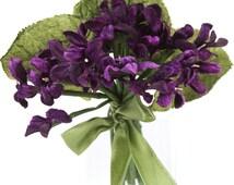 velvet violet posy. violets.  violet posy. millinery flowers. vintage flowers. hat flowers. violet sprigs. scrapbooking flowers
