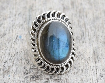 Blue Labradorite Ring blue stone ring Labratorite Jewelry blue gemstone Ring silver engagement ring solitaire girlfriend gift for women