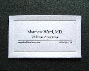 Great Price! - 50 Letterpress Business Cards, Elegant Design. Blind Debossed Frame