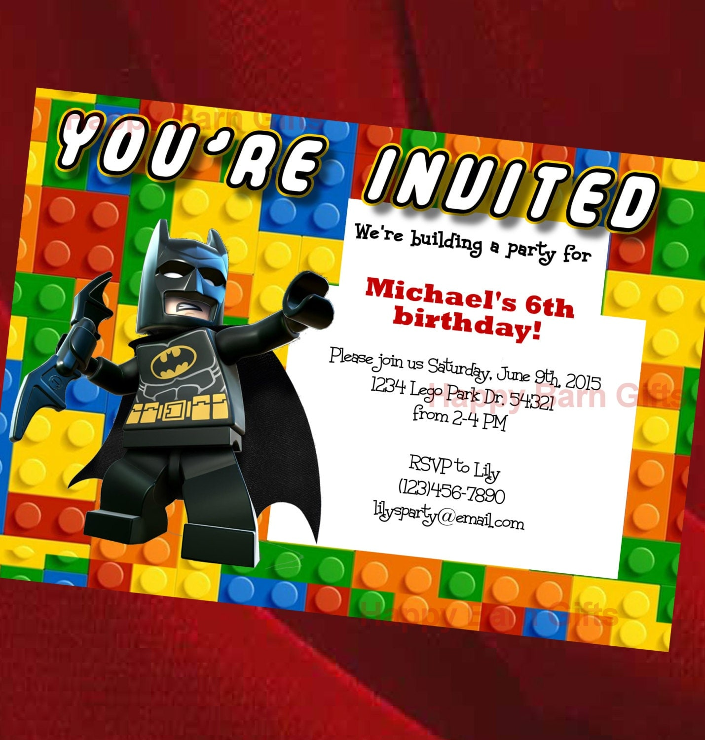 Lego Birthday Invitation Lego Movie Lego Batman by ...