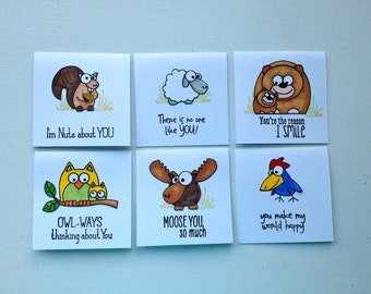 Hand stamped, Lunchbox notes, mini notecards, kids cards, cards for grandkids