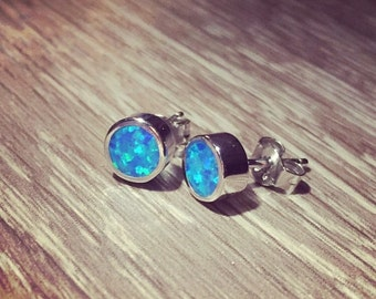 925 Sterling silver stud earrings with Blue lab Opal