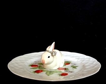 Upcycled/Hand-crafted/Vintage Rabbit Ringholder/Trinket Dish/Ring Dish- Free Shipping