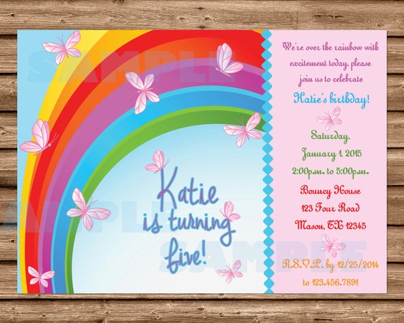 Butterfly Invitation Butterfly Birthday Invitation Girls – Rainbow Themed Birthday Invitations