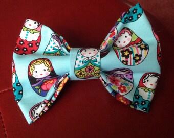 Multicolor Matryoshka Russian Nesting Dolls Hair Bow