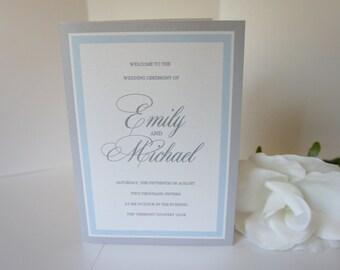 Elegant Wedding Program, Blue and Gray, Silver, Wedding Ceremony Programs, Script, Grey, Light Blue Wedding Programs - DEPOSIT