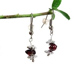 Dainty jewelry, red garnet earrings, dangle silver earrings, simple handmade jewelry, dainty simple earring garnet jewelry stone earring zai