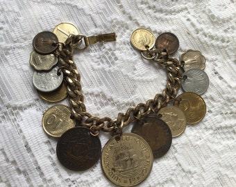 Coin charm bracelet 1960's