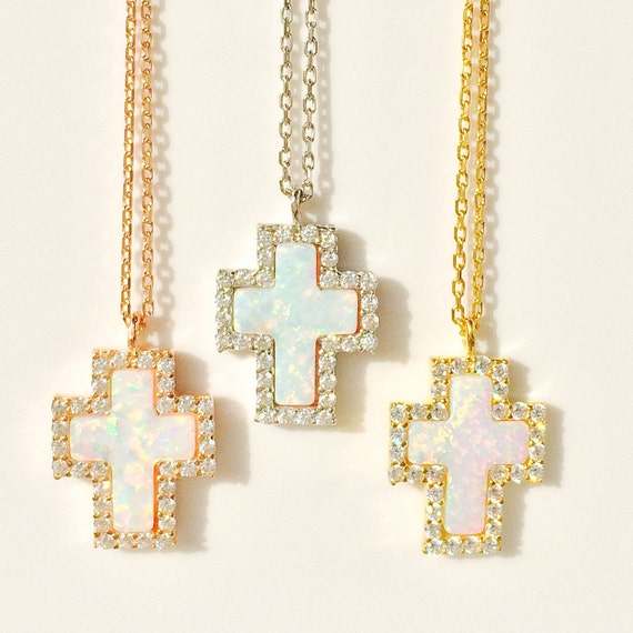 cross opal necklace with genuine cubic zirconia my exclusive design super popular at my jewelry stand