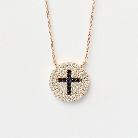Cross Necklace in Sweat Rose Gold Plated Silver and Cubic Zirconia • Beautiful Necklace to Celebrate your Faith