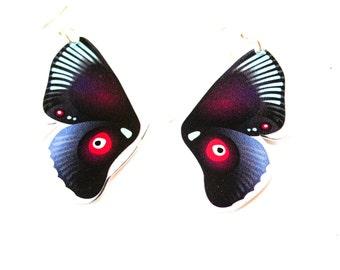 PANIKA Purple flying wings statement earrings / laser cut perspex earrings