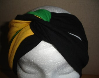Jamaican twist front turban headband ( stretch jersey )