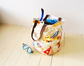 XL BEACH BAG with leather straps