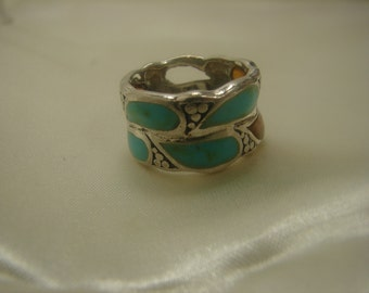 Sterling Silver, Turquoise, cut Amber Artisan Ring sz 7 418