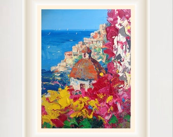 Framed Positano Italy Original Painting Canvas Art Oil Painting
