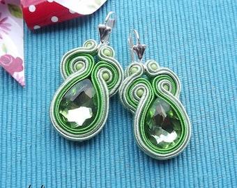 Shor Light Green soutache  earrings