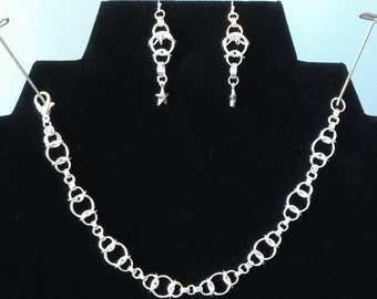 Celtic Light silverplate chainmaille bracelet and earring jewelry set
