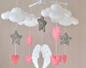 Baby mobile  Baby girl mobile  Cot mobile  Angel wings clouds hearts and stars mobile  Cloud Mobile  Nursery Decor  Clouds and stars