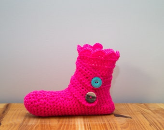 Women crochet Slipper, Home boot, bed sock