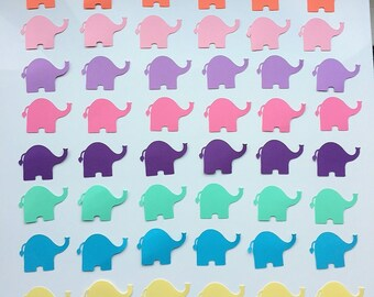 "Elephant Confetti (2"" wide), Elephant Theme Baby Shower Decor, Baby Shower Elephant Die Cuts, Paper Elephants"