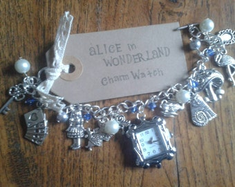 Alice in Wonderland inspired Charm Bracelet Watch