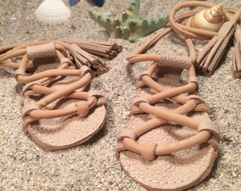 Tan Gladiators Sandals made from genuine leather, baby moccasins, Mary Janes baby girl sandals