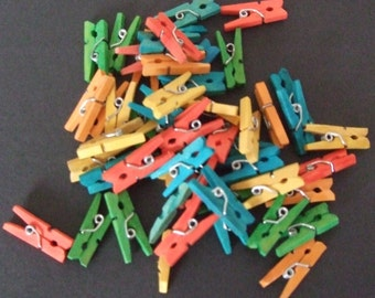 Colourful Wooden Mini Pegs
