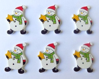 6 Snowman Buttons - Christmas - Quilting Buttons - Sewing Buttons - Embellishments - #C-00009