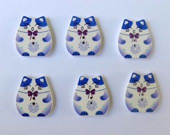 6 Purple Plutus Cat Buttons - 2 Holes - Quilting Buttons - Sewing Buttons - Embellishments - #SB- 00143