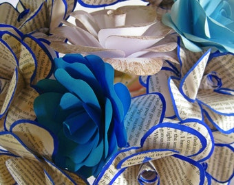 Set of 12 Book Paper Flowers, Book Page Flowers, Paper Wedding Decor, Blue and White Stem Flowers, Vintage Paper Flower, Book Theme Wedding