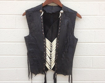 Style #1337 bone black deer skin warrior vest
