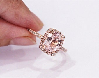 14K Rose Gold 7x9mm VS Morganite Ring Anniversary Ring Diamonds Wedding Ring Morganite Jewelry Engagement Ring
