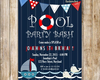 NAUTICAL 5TH BIRTHDAY Invitation, Pool Party Bash, Nautical Birthday Party Invite, Navy Blue Boy Pool Party, Summer Birthday, Splash Swim