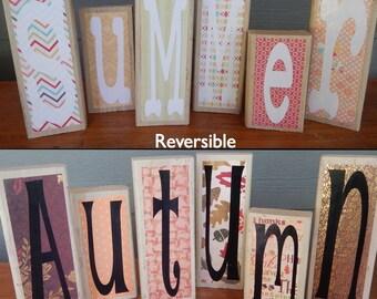 Wooden Blocks, Reversible, Autumn & Summer, Vinyl Lettering, Vintage Decor