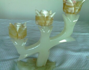 "Carved Alabaster Three Lite Candlestick, ""Tulip"" Pattern"