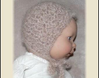 Newborn Baby Crocheted Sandy Brown Mohair Bonnet