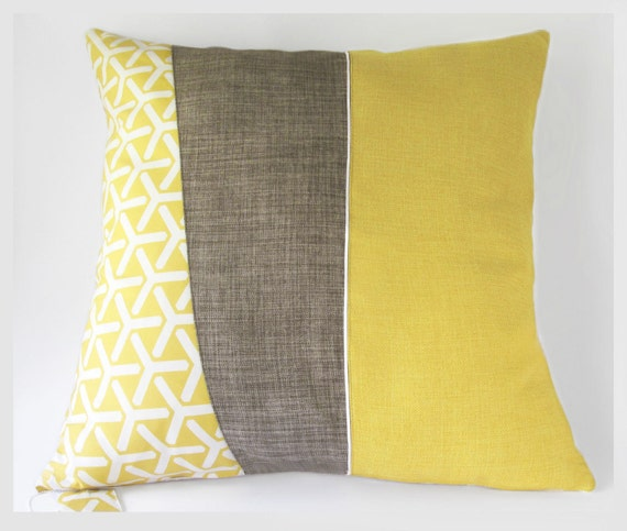 Mid-century modern style large throw pillow cushion cover in mustard yellow, cocoa brown or grey ...