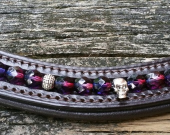 "Skulls and jewels: Dark brown 16"" straight browband"