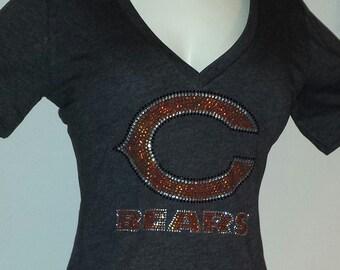 Bears Rhinestone Bling Shine Women's Dark Gray V Neck Fitted Tee T Shirt