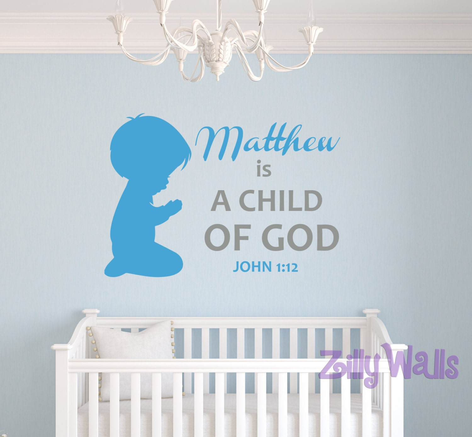 Christian Wall Decor For Nursery : Vinyl wall scripture decal christian nursery decor