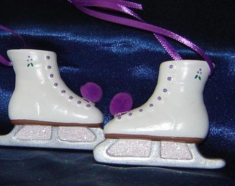 Pair of Ice Skate Ornaments in Purple - Skating Ornaments - Christmas Ornaments - Ceramic Ornaments - Skates Ornaments