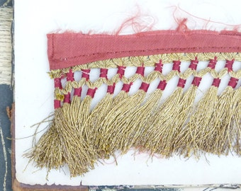 19th Century antique real gold passementerie & red silk tassel fringe from opera costume, mixed media, jewellery supply, home decor, tassle