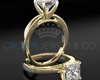 Diamond Ring 1.7 ct H VVS1 Princess Cut 18 Karat Yellow Gold Women Solitaire Engagement Ring Size 4 5 6 7 8