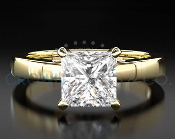 Engagement Ring Princess Cut Diamond 2.00 Carat F SI1 Solitaire Ring 18K Yellow Gold For Women
