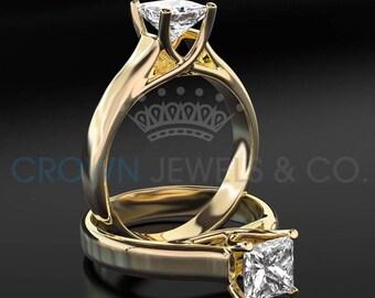 Diamond Engagement Ring 1.15 Carat Princess Cut F VS Women Solitaire Ring 14 Karat Yellow Gold