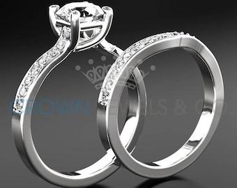 Engagement Ring Women Wedding Band Set White Gold 1.60 Carat F VVS Round Brilliant Cut Diamond Ring For Ladies Size 4 5 6 7 8