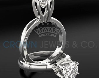 Anniversary Diamond Ring 1.8 ct D SI2 Round Cut Solitaire Ring 18 Karat White Gold Setting For Women