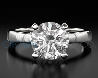Diamond Engagement Ring Solitaire D VS Round Brilliant Cut Diamond 18K White Gold Ring For Women