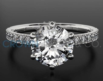 1.2 Carat D SI Diamond Engagement Ring Round Cut Wedding Ring In 14K White Gold Women Jewelry Size 4 5 6 7 8