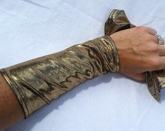 Armies -- arm warmers -- gold foil spandex